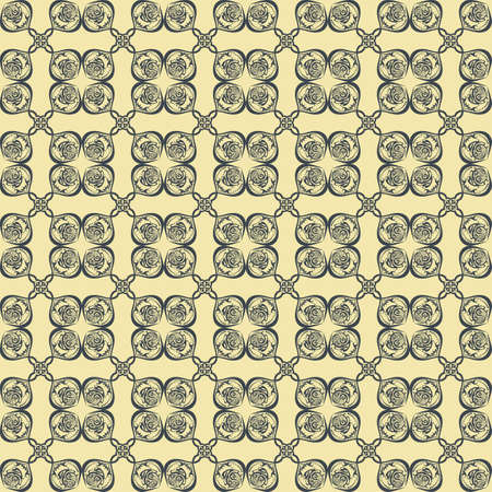 fabric textures: Vintage Abstract geometric floral classic pattern ornament. Vector background for cards, web, fabric, textures, wallpapers, tile, mosaic. Cream gold and green color Illustration