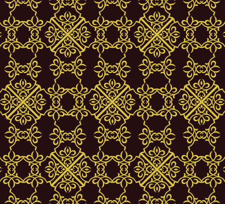 fabric textures: Vintage Abstract geometric floral classic pattern ornament. Vector background for cards, web, fabric, textures, wallpapers, tile, mosaic. Gold color Illustration