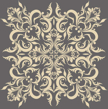 fabric textures: Vintage Abstract geometric floral classic pattern ornament. Vector background for cards, web, fabric, textures, wallpapers, tile, mosaic. Cream gray color Illustration