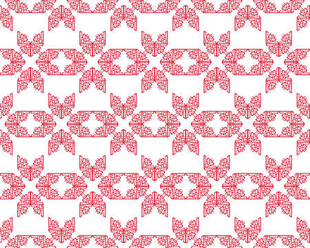 fabric textures: Vintage Abstract geometric floral classic pattern ornament. Vector background for cards, web, fabric, textures, wallpapers, tile, mosaic. Red color Illustration