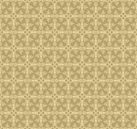 fabric textures: Vintage Abstract floral classic pattern ornament. Vector background for cards, web, fabric, textures, wallpapers, tile, mosaic. yellow color Illustration