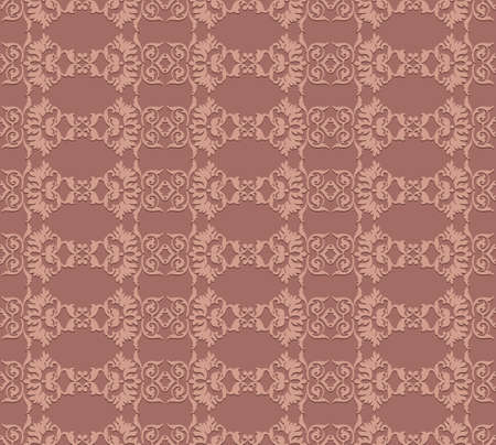 fabric textures: Vintage Abstract geometric floral classic pattern ornament. Vector background for cards, web, fabric, textures, wallpapers, tile, mosaic. canyon clay color Illustration