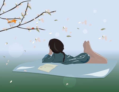 girl lying down: Little Girl lying down on grass reading a book. Spring background Vector