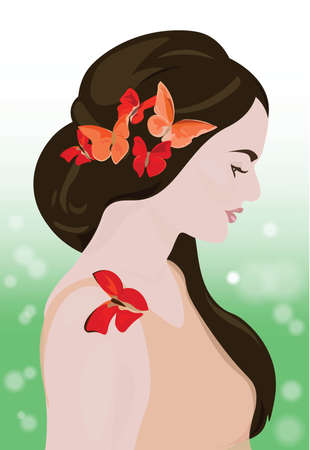 Beautiful Girl with butterflies in the hair. Spring Goddess Vector Illustration