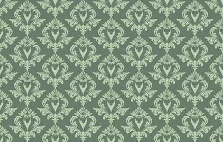 lint: Vintage Damask floral classic pattern ornament. Vector background for cards, web, fabric, textures, wallpapers, tile, mosaic. Green lint color
