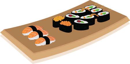 Piatto sushi su sfondo bianco. illustrazione vettoriale Archivio Fotografico - 59487357