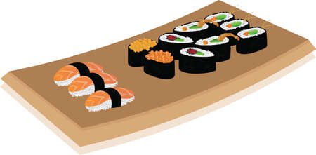 Sushi plate on white background. vector illustration