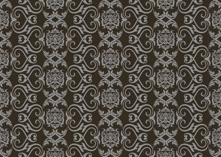 fabric textures: Vintage Damask floral classic pattern ornament. Vector background for cards, web, fabric, textures, wallpapers, tile, mosaic. Dark Gray color Illustration