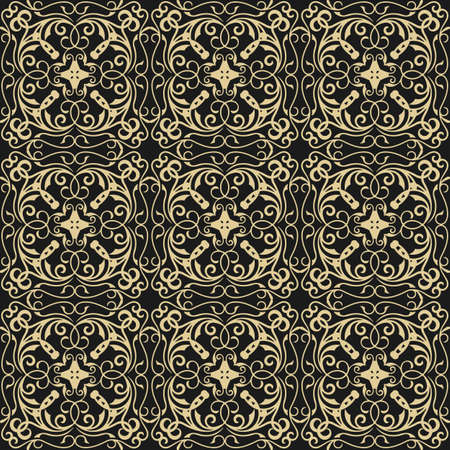 fabric textures: Vector Vintage Damask floral classic pattern ornament. Vector background for cards, web, fabric, textures, wallpapers, tile, mosaic. Gold and black color Illustration