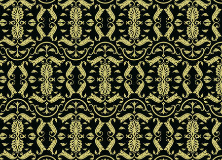 shinning leaves: Abstract pattern background in gold color. Vintage Vector pattern Illustration