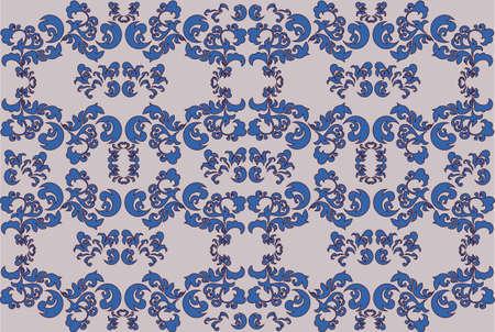 royal blue: Vector Damask abstract ornament pattern. Royal Blue color