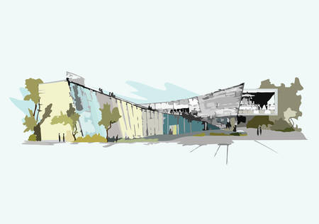 building sketch: Vector Architectural sketch of a Modern Building Illustration