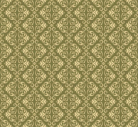 fabric textures: Vector Vintage Damask floral classic pattern ornament. Vector background for cards, web, fabric, textures, wallpapers, tile, mosaic. Cream and lint color Illustration