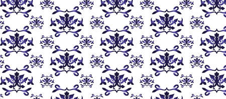 royal blue: Vintage abstract floral classic pattern ornament. Vector background for cards, web, fabric, textures, wallpapers, tile, mosaic. Royal blue color Illustration