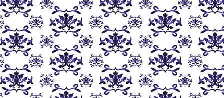 Vintage astratto disegno floreale classico ornamento. Vector sfondo per le schede, il web, tessuto, texture, sfondi, piastrelle, mosaico. Reale colore blu
