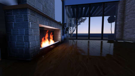 stone fireplace: Modern Fireplace in white stone. Nature view. Morning sunrise, beautiful peaceful lights. 3D Render Image