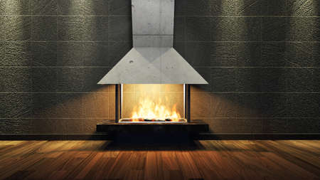 stone fireplace: Modern Fireplace in white metal. Concrete stone wall. Soft Lights. 3D Render Image