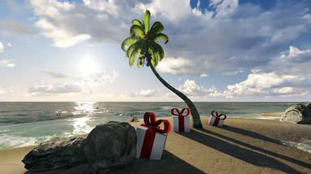 Merry Christmas gift boxes on the beach. Render image Foto de archivo