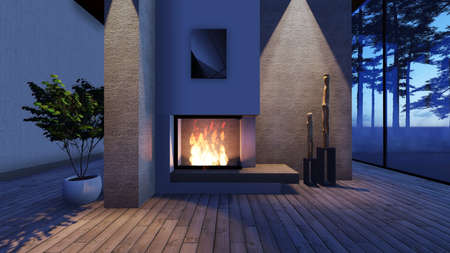 stone fireplace: Modern Fireplace in white stone with lights. Render Image