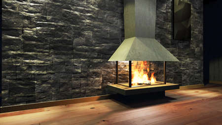 warm house: Modern Fireplace in white metal. Concrete stone wall. Soft Lights. 3D Render Image