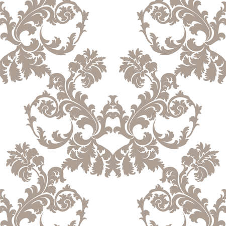 taupe: Vector Baroque Floral Damask ornament pattern. Taupe colorornament Illustration