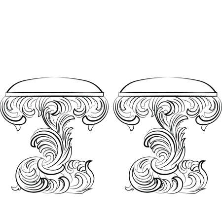 baroque furniture: Royal Baroque Vector Classic chair furniture set with Luxury Acanthus ornaments. Vector sketch furniture