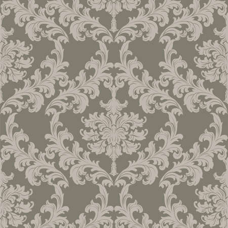 taupe: Vector Baroque Vintage floral damask pattern element background. Luxury Classic stylized lily flower Damask ornament, royal Victorian texture for wallpapers, textile, fabric. taupe color ornament Illustration