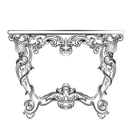 luxury furniture: Royal Baroque Vector Classic table furniture with  Ornate Luxury Acanthus ornaments. Vector sketch furniture