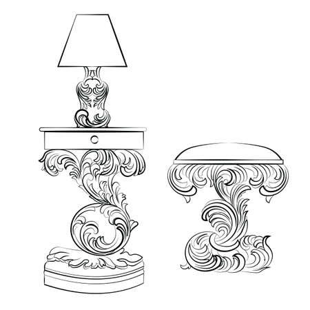 furniture style: Vector Royal lamp and comode table with Acanthus ornament pedestal. Rich Classic Imperial furniture style Illustration