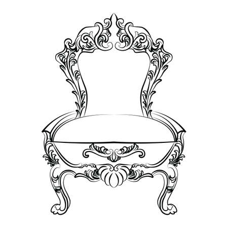 baroque furniture: Royal Baroque Vector Classic chair furniture with  Ornate Luxury Acanthus ornaments. Vector sketch furniture