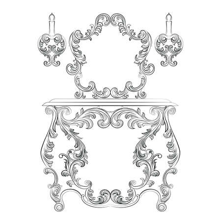 glamorous: Glamorous Fabulous Baroque Rococo Console Table and Mirror frame set. Vector French Luxury rich carved ornaments furniture and Wall lamps. Victorian wealthy Style furniture