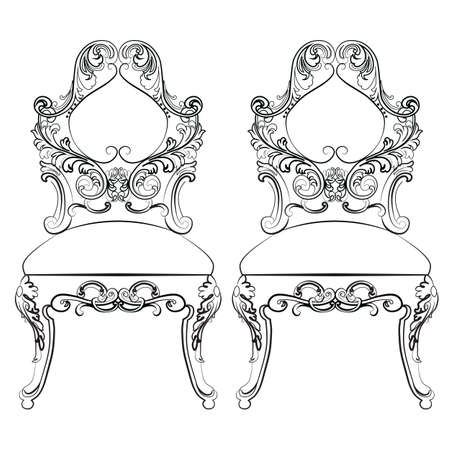 classic furniture: Chairs furniture Classic Set with rich baroque ornaments. Vector sketch