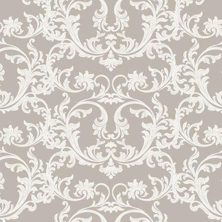 Het vintage bloemenornamentdamastpatroon. Elegante luxe textuur voor textuur, stof, wallpapers, achtergronden en uitnodigingskaarten. Beige kleur. Vector