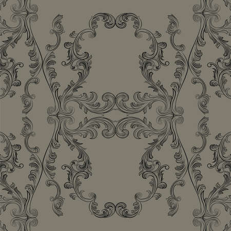 glamourous: Glamourous Baroque Rococo engraved ornament pattern. Vector luxury pattern carved ornament background