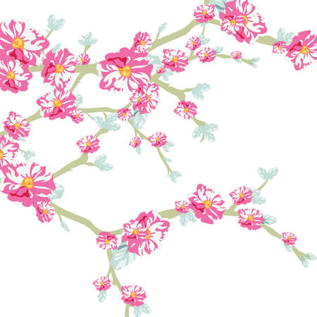 watercolor technique: Vector illustration blooming flowers on tree branch in watercolor technique. Spring Time flowers background