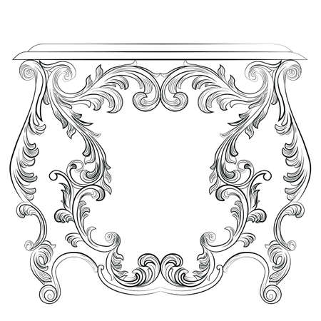 glamorous: Glamorous Fabulous Baroque Rococo Console Table. French Luxury rich carved ornaments furniture. Vector Victorian wealthy Style furniture