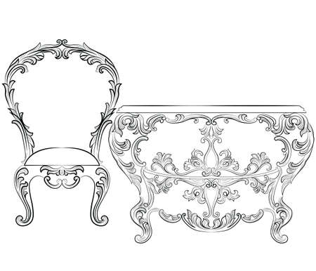 baroque room: Fabulous Rich Rococo Furniture set. French Luxury rich carved ornaments furniture. Vector Victorian wealthy Style furniture