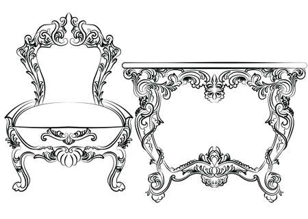 classic furniture: Royal Baroque Vector Classic furniture set chair and table with  Ornate Luxury Acanthus ornaments. Vector sketch furniture