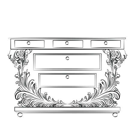 commode: Royal Baroque Vector Classic Commode table furniture with Luxury Acanthus ornaments. Vector sketch furniture