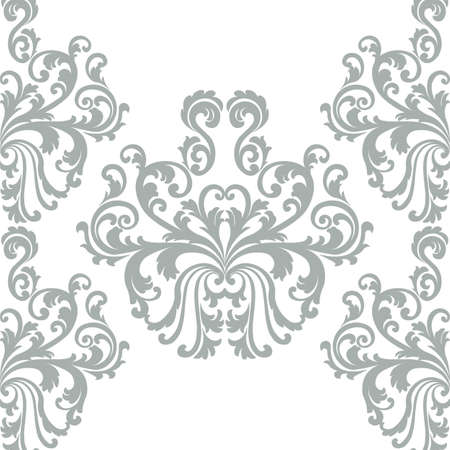 Vintage Vector Floral ornament damask pattern. Elegant luxury texture for wallpapers, backgrounds and invitation cards. Pastel colors Vector Illustration
