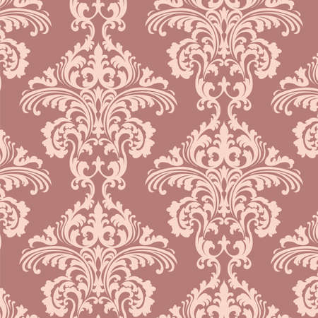 Vintage Vector Rococo Floral ornament damask pattern. Elegant luxury texture for wallpapers, backgrounds and invitation cards. Rose color ornament