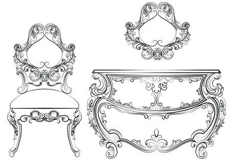 baroque furniture: Baroque Vector Classic furniture set with Royal Luxury ornaments. Vector
