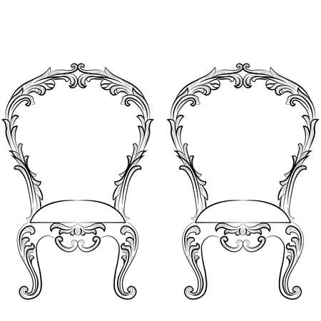 rococo: Fabulous Rich Rococo Chairs set. French Luxury rich carved ornaments furniture. Vector Victorian wealthy Style furniture