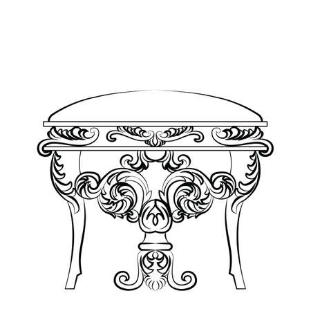 classic furniture: Royal Baroque Vector Classic chair furniture with Luxury Acanthus ornaments. Vector sketch furniture