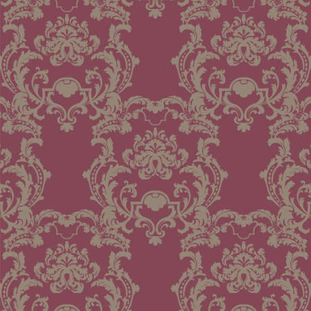 duality: Vector floral damask baroque ornament pattern element. Elegant luxury texture for textile, fabrics or wallpapers backgrounds. Red color Illustration