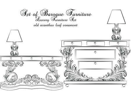 classic furniture: Royal Baroque Vector Classic furniture table and lamp set with Luxury Acanthus ornaments. Vector sketch furniture