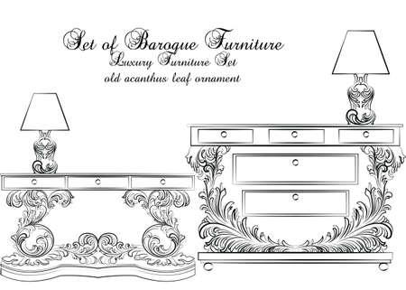 Royal Baroque Vector Classic-meubellijst en -lamp met luxe Acanthus-ornamenten. Vector schetsmeubilair