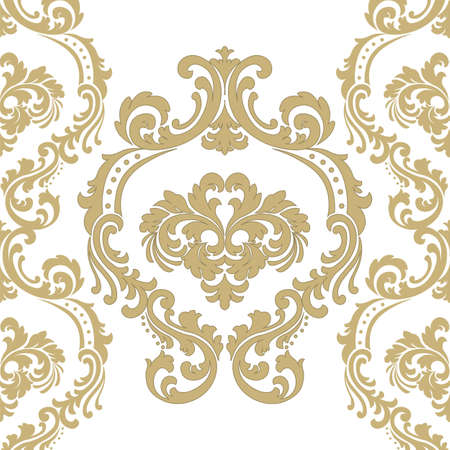 Vintage Vector Floral ornament damask pattern. Elegant luxury texture for wallpapers, backgrounds and invitation cards. Gold color ornament