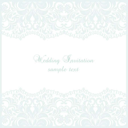 Wedding Lace card. Elegant ornate lace frame, vector greeting card or invitation design. Template for wedding, invitation or greeting card with lace fabric background Vetores