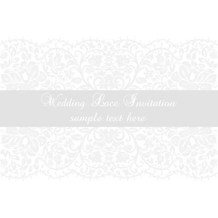 ceremonies: Vector Lace Invitation card with lace floral ornament. Delicate lace design card for wedding ceremonies, anniversary, party, events. White color